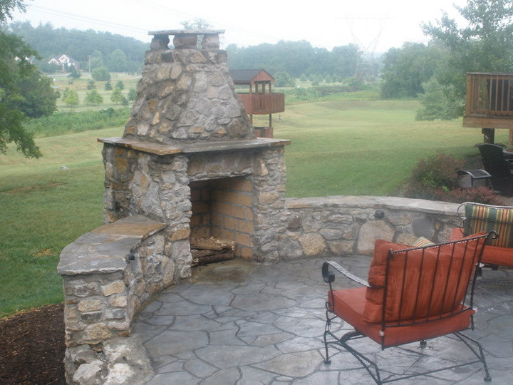 stamped concrete patio with fireplace. Related Stamped Concrete Patio With Fireplace E